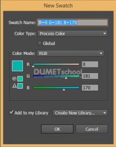 cara menambahkan warna baru pada swatches di illustrator