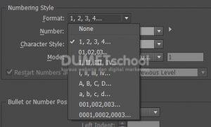 Mengatur Number List di Adobe Indesign