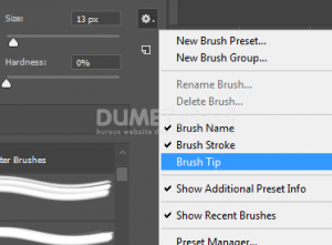 Pengaturan tampilan Brush di Adobe Photoshop cc 2018