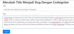 Merubah Title Menjadi Slug Dengan Codeigniter