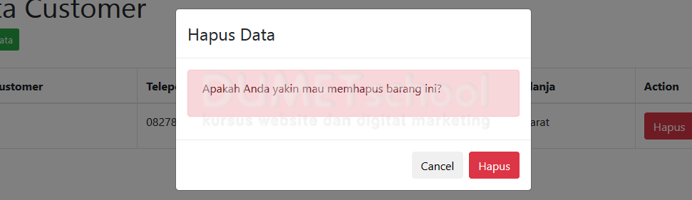 CRUD Codeigniter dan Ajax, Delete Data