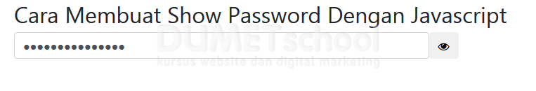 Cara Membuat Show Password Dengan Javascript
