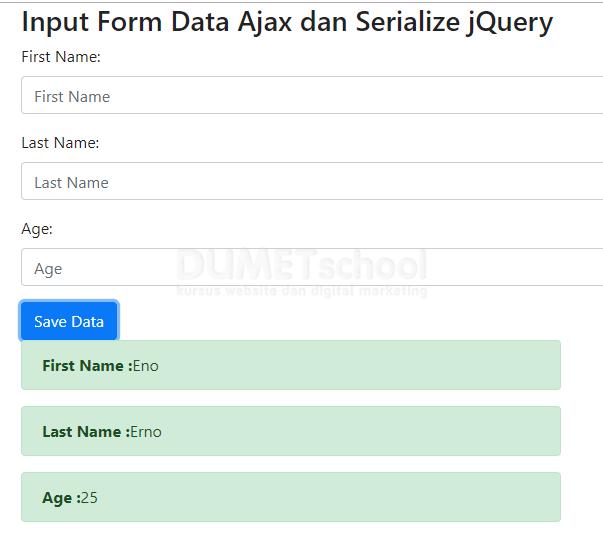 Cara Input Data Dengan Serialize jQuery