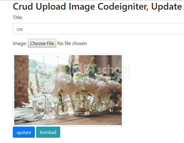 Crud Upload Image Codeigniter, Update