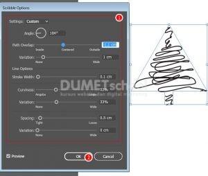 membuat-Pohon-Natal-dengan-Efek-Scribel-di-adobe-Illustrator