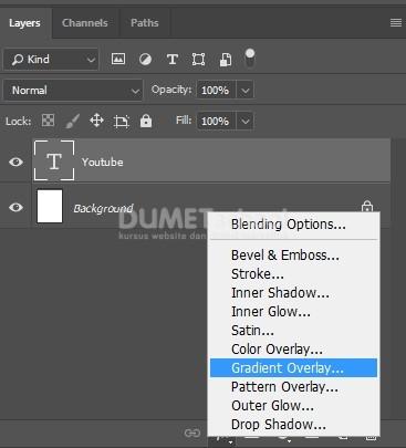 v Membuat Teks dengan Warna Gradient di Adobe Photoshop