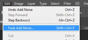 Tips  mengatur filter nois pada perintah edit fade di adobe photoshop