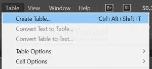 Membuat Tabel di Adobe Indesign